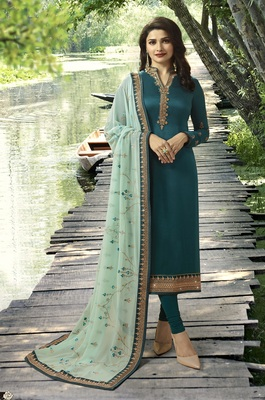 Turquoise Embroidered Satin Semi-Stitched Salwar With Dupatta