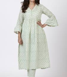 Green Gul Trails Gathered Kurti with Printed Straight Pants