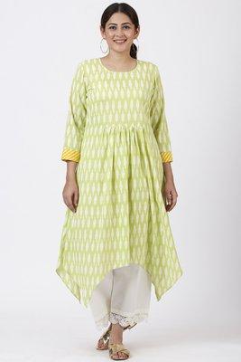 Lime Green Ikkat Printed Handkerchief Kurti with Crochet Pants