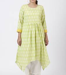 Lime Green Ikkat Printed Handkerchief Kurti with Crochet Pants