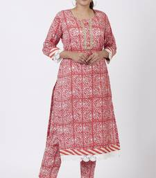 Raspberry Pink Floral Printed Kurti with Printed Pants