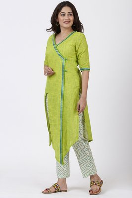 Smiling Green Asymmetrical Kurti with Printed Straight Pants