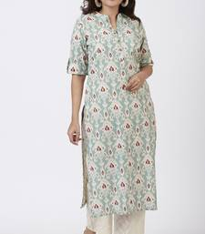 Simply Sea Green Mughal Floral Printed Kurti with Straight Palazzo