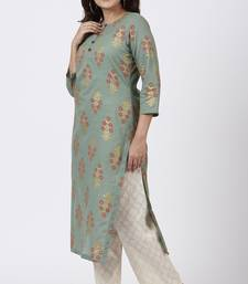 Moss Green Rust Floral Printed Kurti with Straight Palazzo