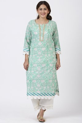 Mint Green Floral Leheriya Crochet Kurti with Crochet Pants
