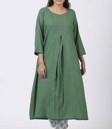 Shaded Jade Front Pleat Kurti with Straight Pants
