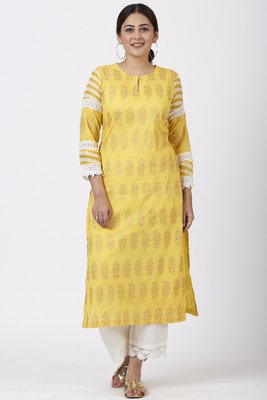 Butter Mustard Leheriya Crochet Kurti with Crochet Pants