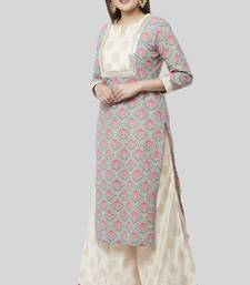 Gray Pink Floral Gotta Straight Kurti with Foil Printed Kalidaar Palazzo