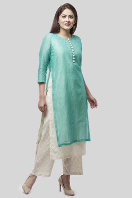 Water Blue Double Layer Chanderi Kurti with Self Printed Straight Palazzo