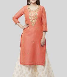 Coral Embroidered Chanderi Kurti with Off-White Foil Kalidaar Palazzo