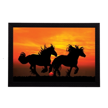 Black Running Horses Satin Matt Texture UV Art Painting