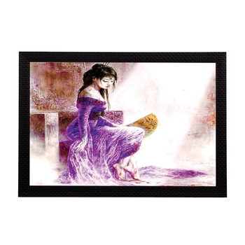 Girl In Purple Dress Satin Matt Texture UV Art Painting