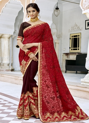 Crimson embroidered georgette saree with blouse