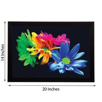 Tri Color Floral Satin Matt Texture UV Art Painting