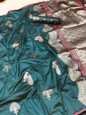 sea green woven cotton saree with blouse