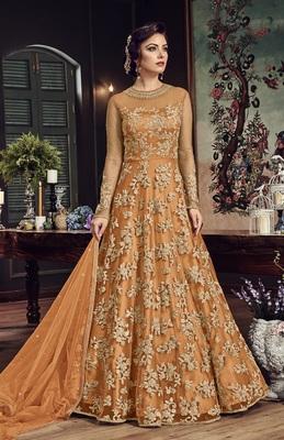Orange Embroidered Net Salwar With Dupatta