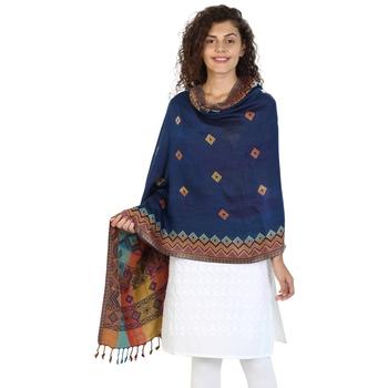Navy & Multicolor Viscose Rayon Woven Design Shawl
