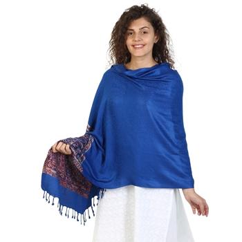 Royal Blue & Multicolor Viscose Rayon Woven Design Shawl