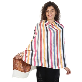 White & Multicolor Viscose Rayon Woven Design Shawl