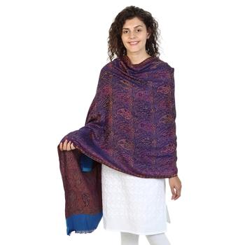 Purple & Multicolor modal Woven Design Shawl