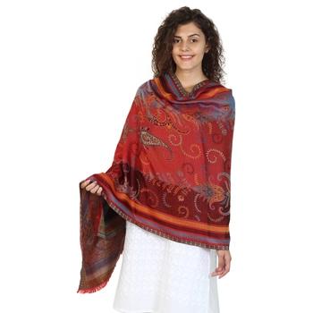 Wine & Multicolor modal Woven Design Shawl