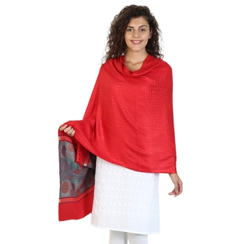 Red & Multicolor Viscose Rayon Woven Design Shawl