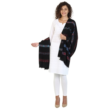 Black &  Multicolor modal Woven Design Shawl