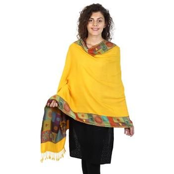 Sunflower & Multicolor Viscose Rayon Woven Design Shawl