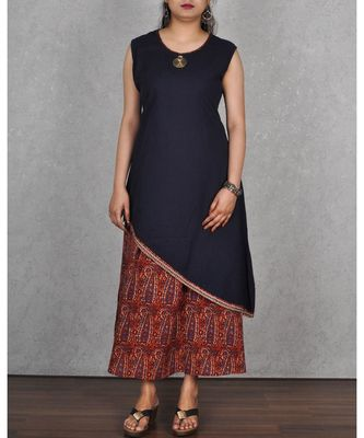 Blue Cotton & Art Silk Printed 2pc Dress