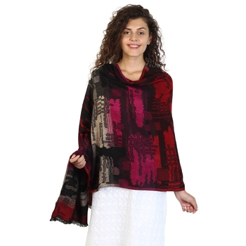 Black & Multicolor Viscose Rayon Woven Design Shawl