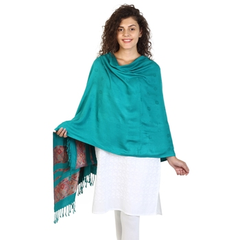 Dark Jade Green Viscose Rayon Woven Design Shawl
