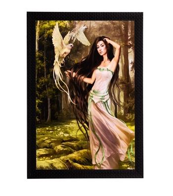 Woman & Bird Satin Matt Texture UV Art Painting