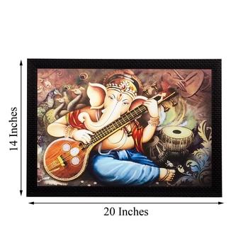 Lord Ganesha Playing Musical Instrument Matt Textured UV Art Painting