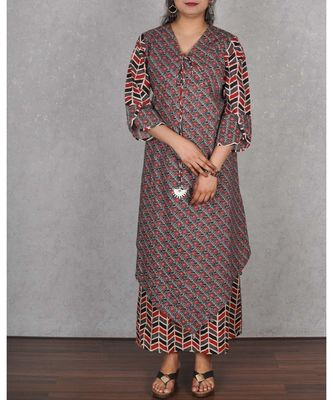 Multicolored Dabu Cotton Printed Dress