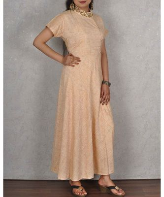 Peachish Beige Linen Cotton Dress