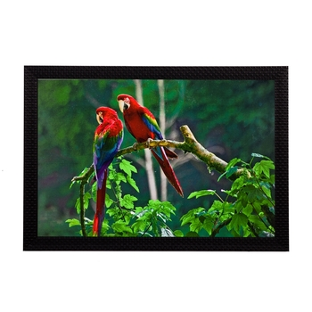Parrots Pair Satin Matt Texture UV Art Painting