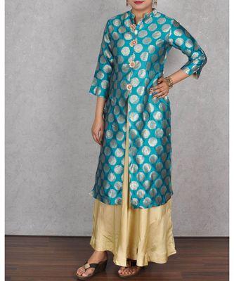 Green & Beige Banarasi Silk Dress