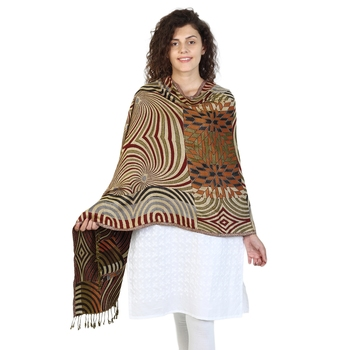 Brown & Multicolor Viscose Rayon Geometric Woven Design Shawl
