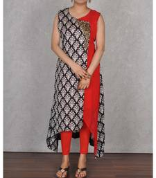 Black & Red Georgette Embroidered Dress