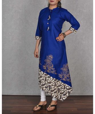 Blue & Beige Cotton Embroidered Dress