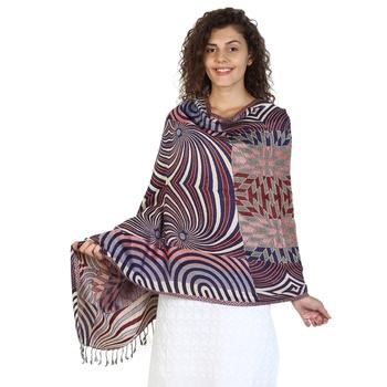 Navy & Multicolor Viscose Rayon Geometric Woven Design Shawl