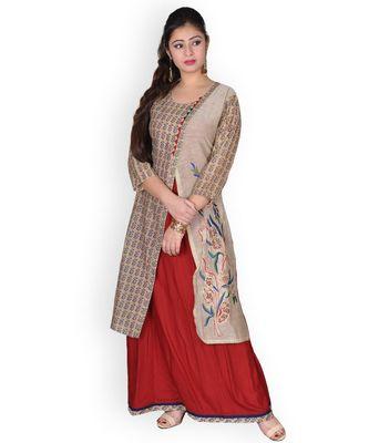 Maroon & Beige Embroidered Cotton & Chanderi Dress