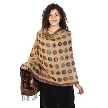 Navy & Beige & Multicolor Viscose Rayon Dots Woven Design Shawl