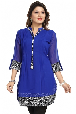 Blue plain georgette kurtas-and-kurtis