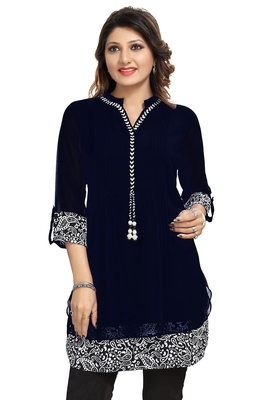 Black plain georgette kurtas-and-kurtis