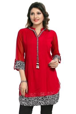 Red plain georgette kurtas-and-kurtis