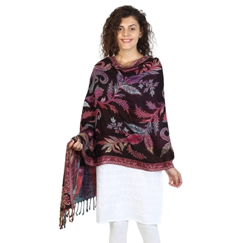 Black & Multicolor Viscose Rayon Floral Paisley Woven Design Shawl