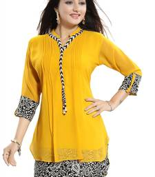Yellow plain georgette kurtas-and-kurtis