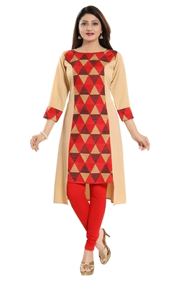 Red printed crepe kurtas-and-kurtis