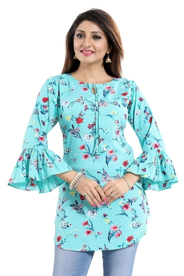 Green printed crepe kurtas-and-kurtis